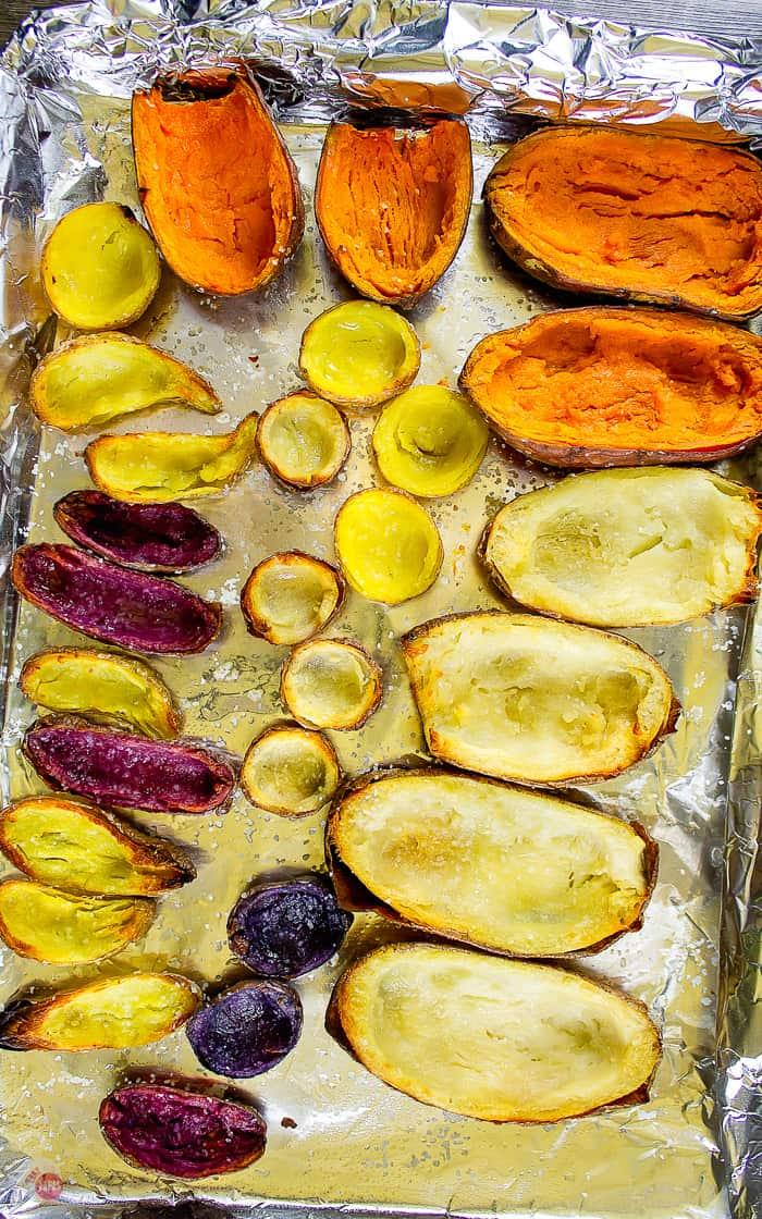 baked naked potato skins on baking sheet