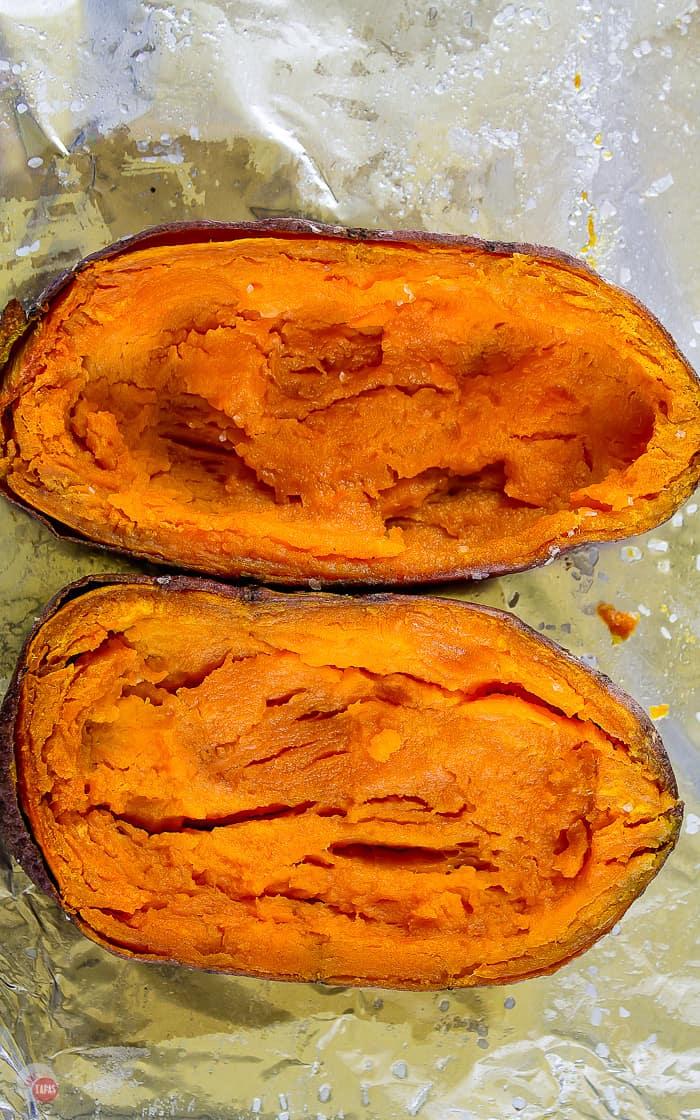 sweet potato skins on baking sheet