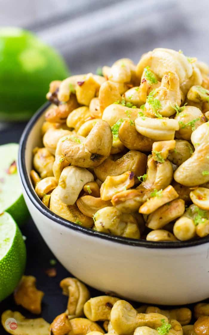 These Chili Lime Cashews will be the hit of your party served in a bowl