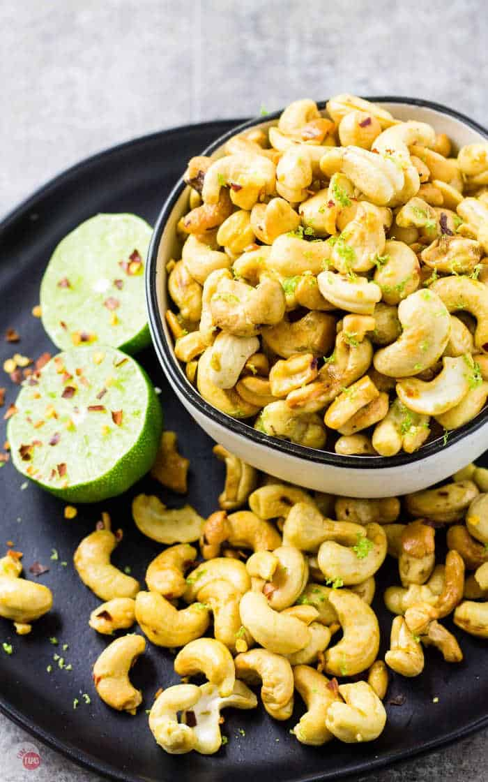 Zesty Chili Lime Cashews in a bowl