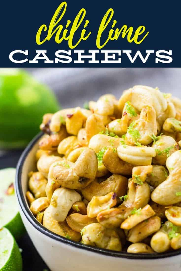 pinterest image for spicy cashews
