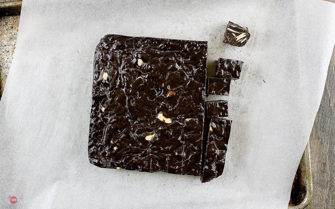 overhead picture of block of fudge cut into a few pieces