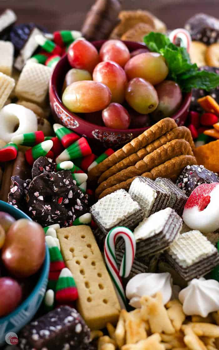 close up of cookies and snacks on a platter
