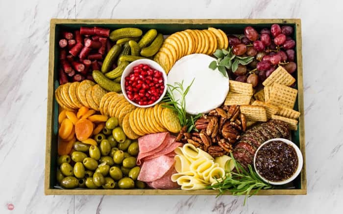 Overhead shot of a cheese board