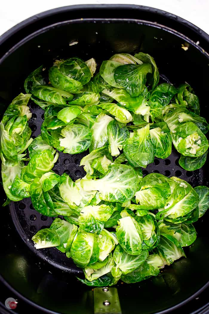 loose sprout leaves in air fryer basket