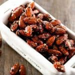 glazed seasoned almonds in a while dish