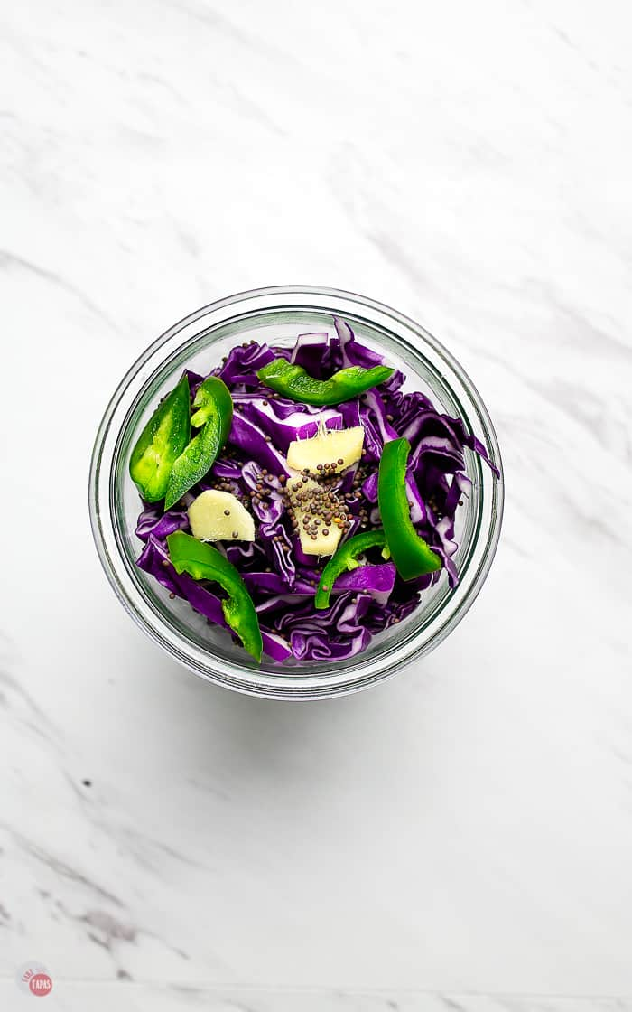 cabbage and spices in a jar