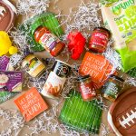 overhead picture of foods to serve on game day
