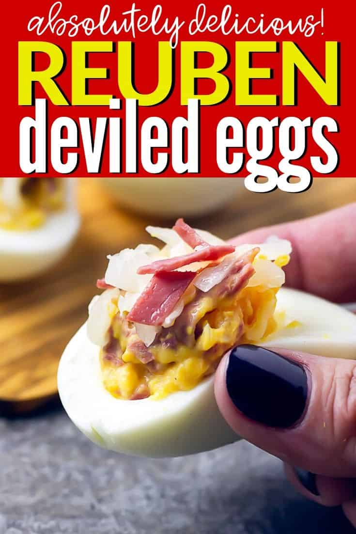 "Pinterest Image close up of a reuben deviled egg with text ""absolutely delicious reuben deviled eggs"""