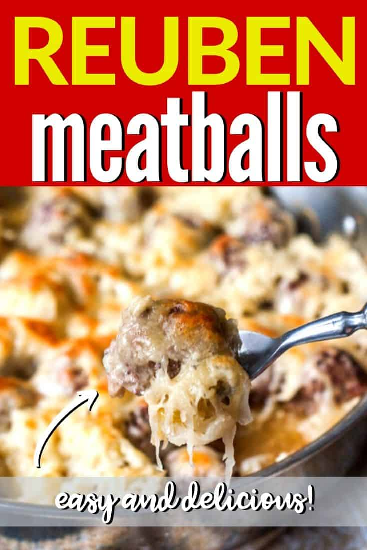 "close up of meatball on fork with text ""reuben meatballs"""