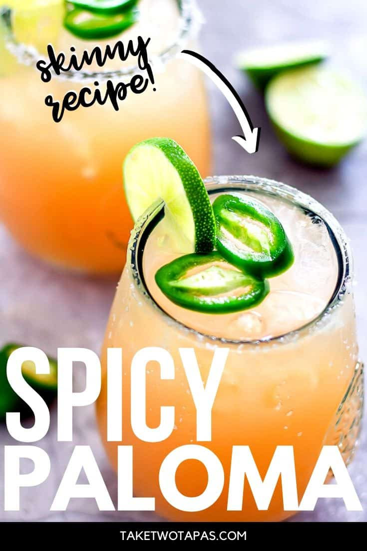 """Pinterest image grapefruit cocktail with the text """"skinny recipe"""" and """"spicy paloma"""""""