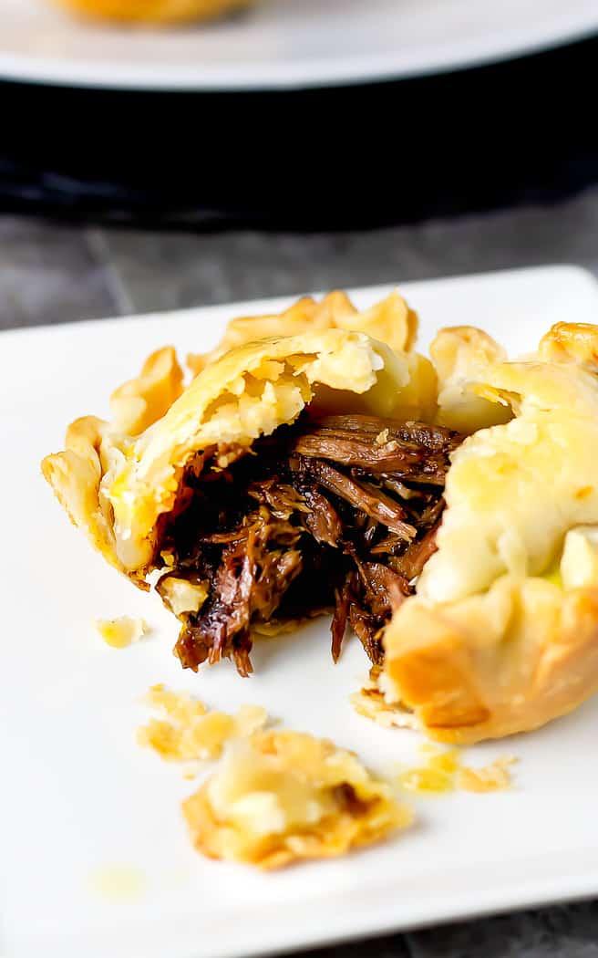 close up of mini beef pot pie cut open