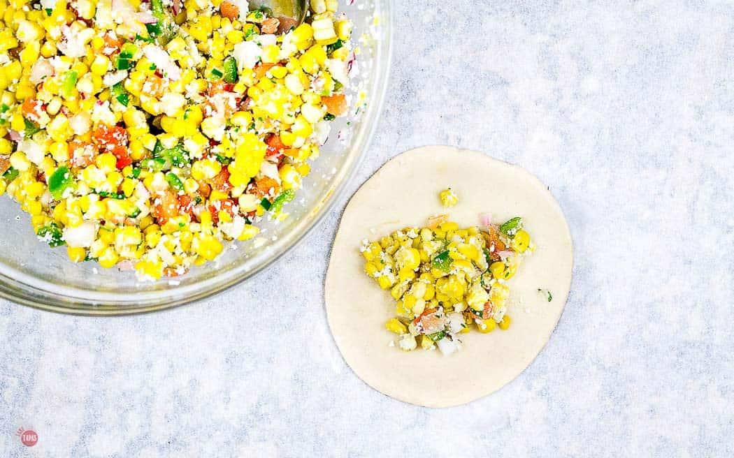 corn salad on a dough disc