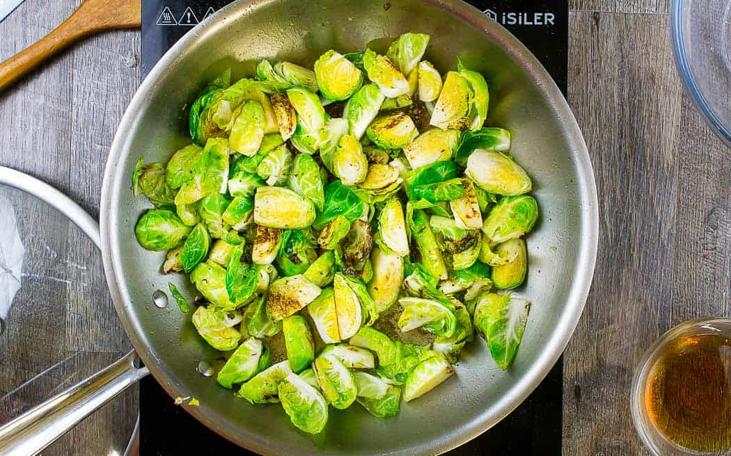sprouts cooking in a pan