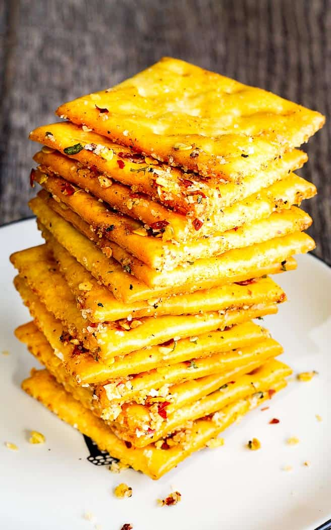 comeback crackers stacked on a white plate