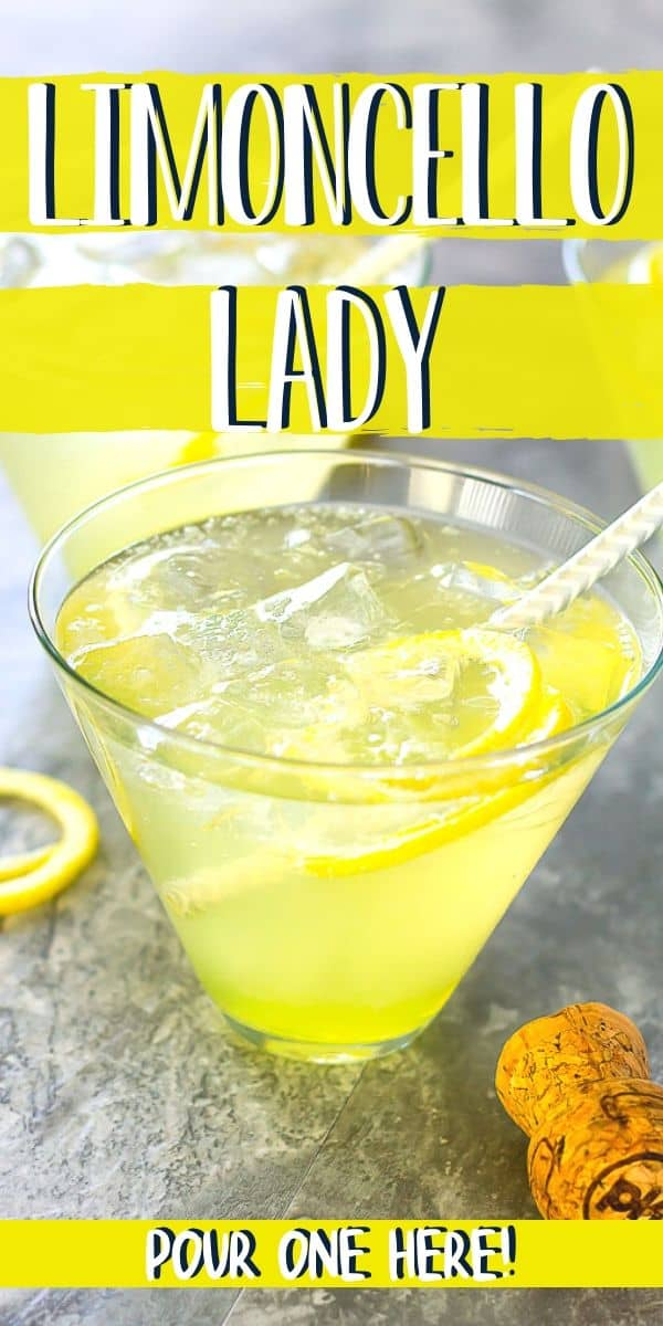 "Pinterest image with text ""limoncello lady"" and ""pour one here!"""
