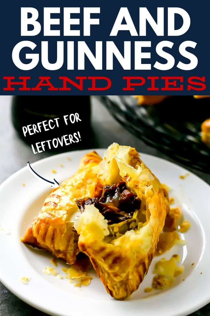 """beef hand pie with text """"beef and Guinness hand pies"""""""