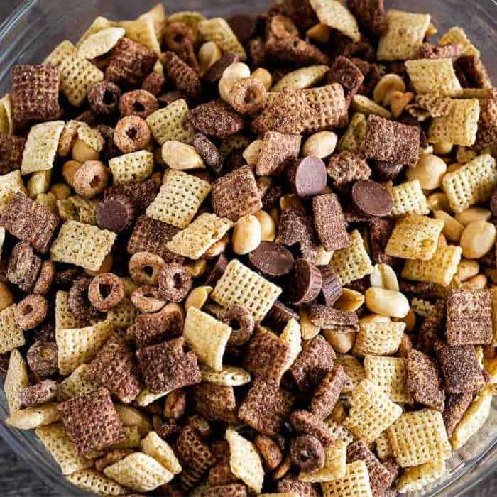 uncoated snack mix in bowl