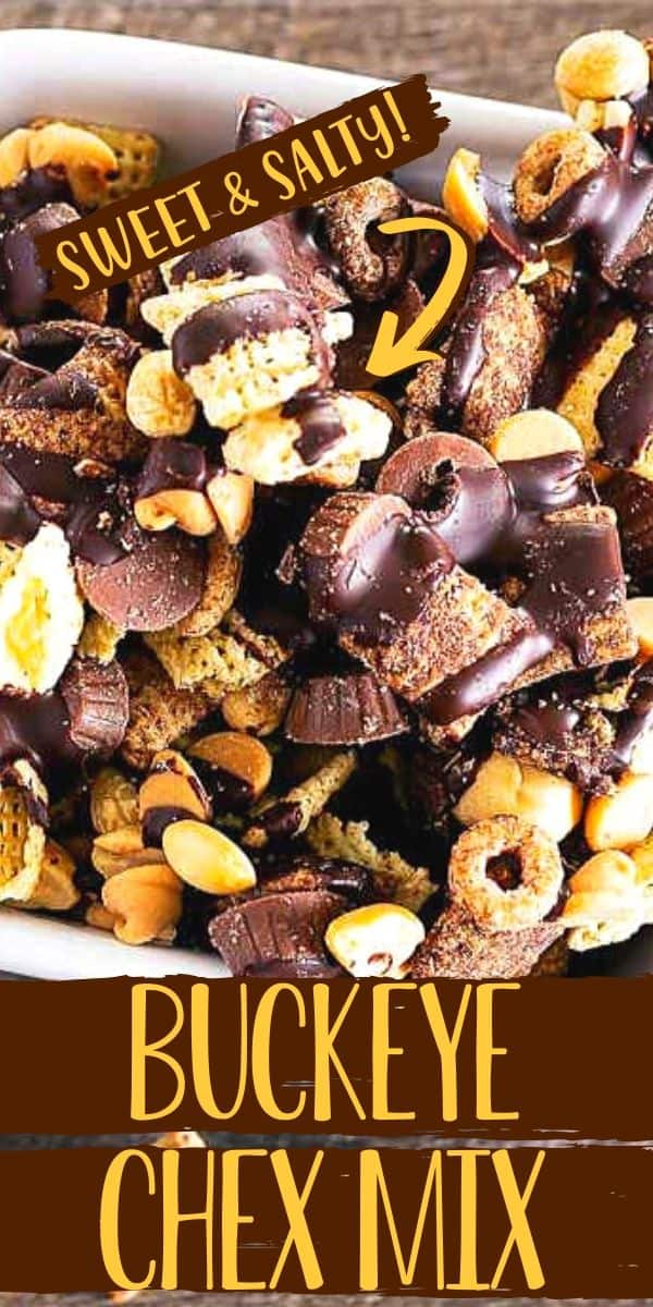 "close up of chocolate chex mix with text ""buckeye snack mix"""