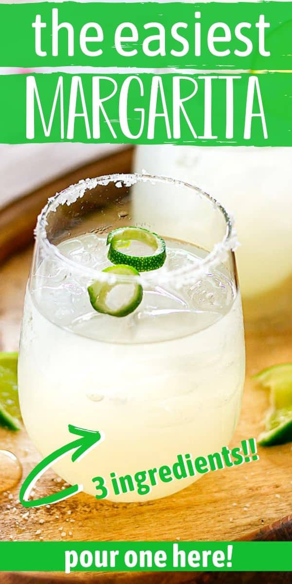 """limeade margarita with lime garnish with text """"the easiest margarita"""""""