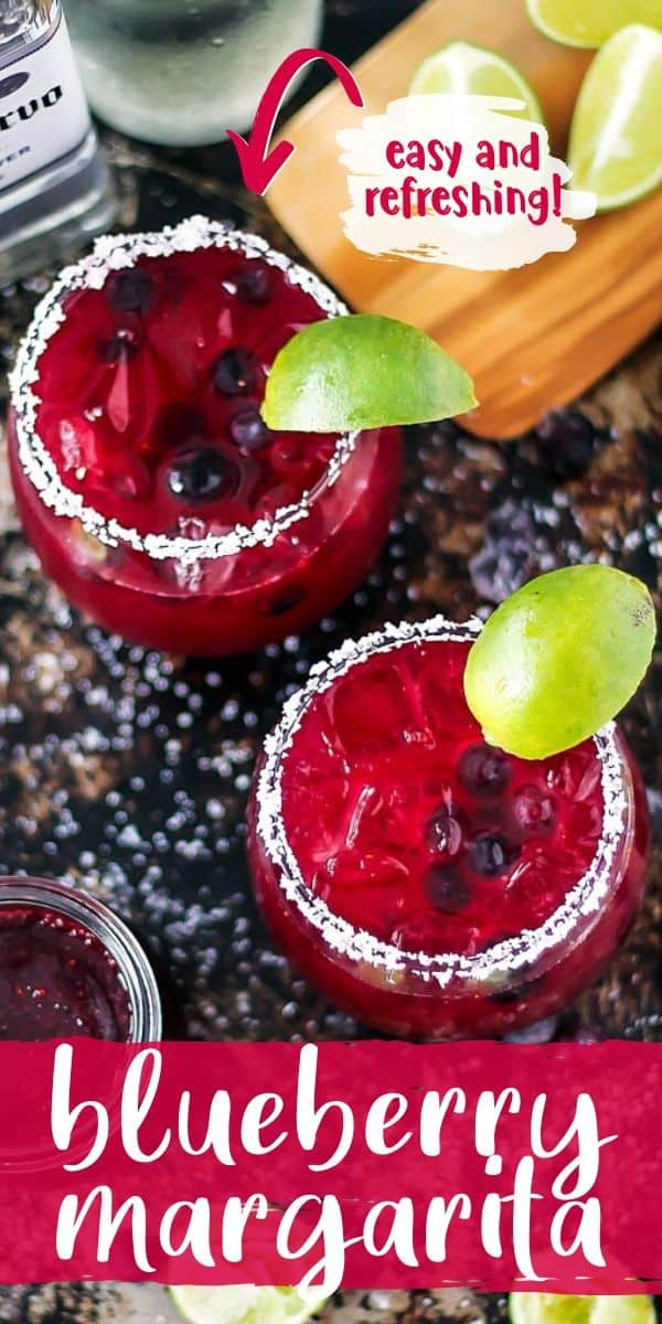 "Pinterest image with text ""blueberry margarita"" and ""easy and refreshing"""