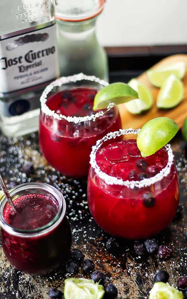 two margaritas with blueberries