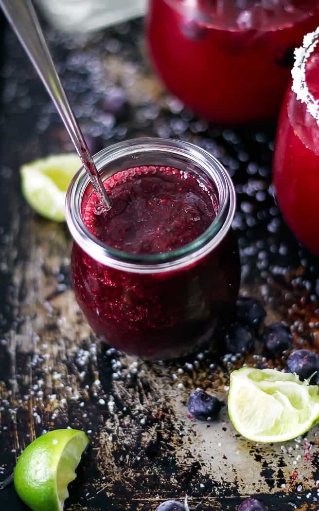 blueberry puree in a jar