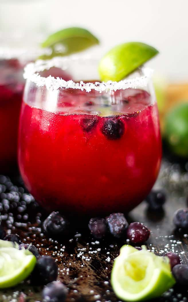 side angle of blueberry margarita in a glass