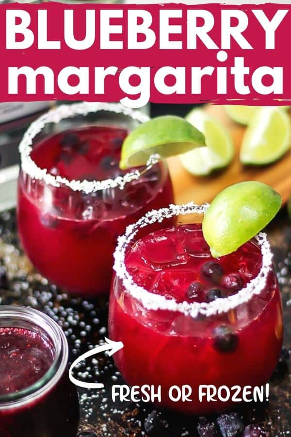 "Pinterest image with text ""blueberry margarita"""