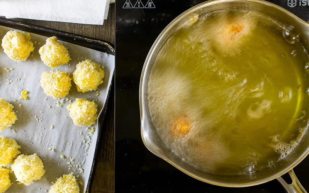 hot oil with macaroni ball frying in it and a sheet of frozen balls