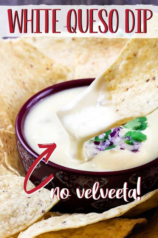 "Pinterest image of cheese dip with text ""white queso dip"""