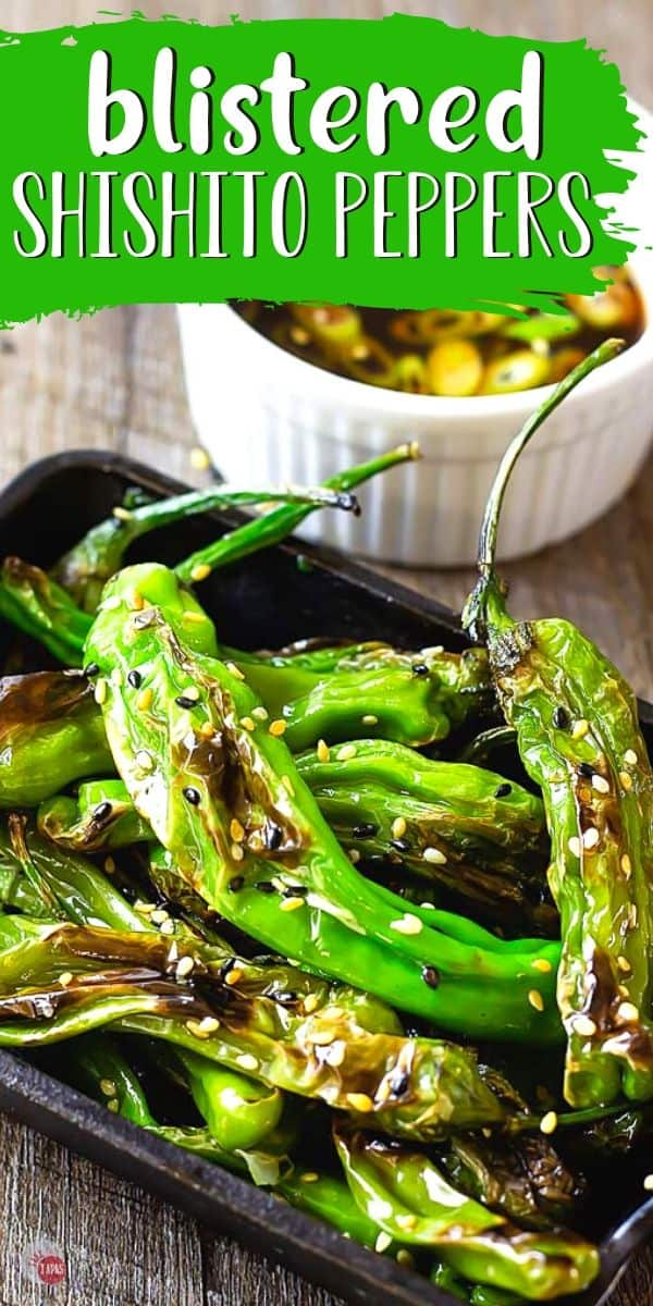 """shishito peppers in a cast iron dish with text """"blistered shishito peppers"""""""