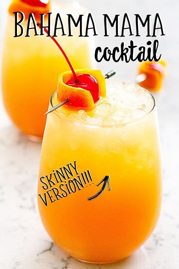 "Pinterest image with text ""Bahama Mama Cocktail"" and ""skinny version"""