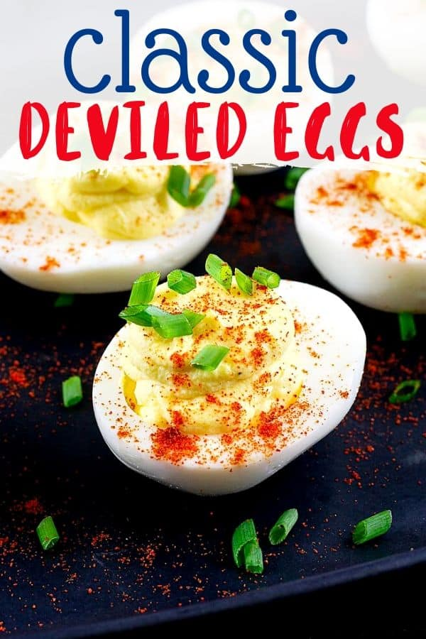 "pinterest image of a single deviled egg with text ""classic deviled eggs"""