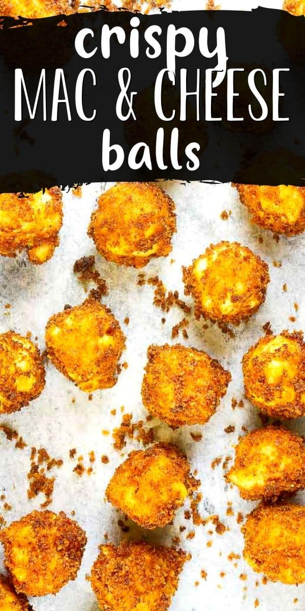 """fried mac and cheese balls overhead picture with text """"fried mac and cheese balls"""""""