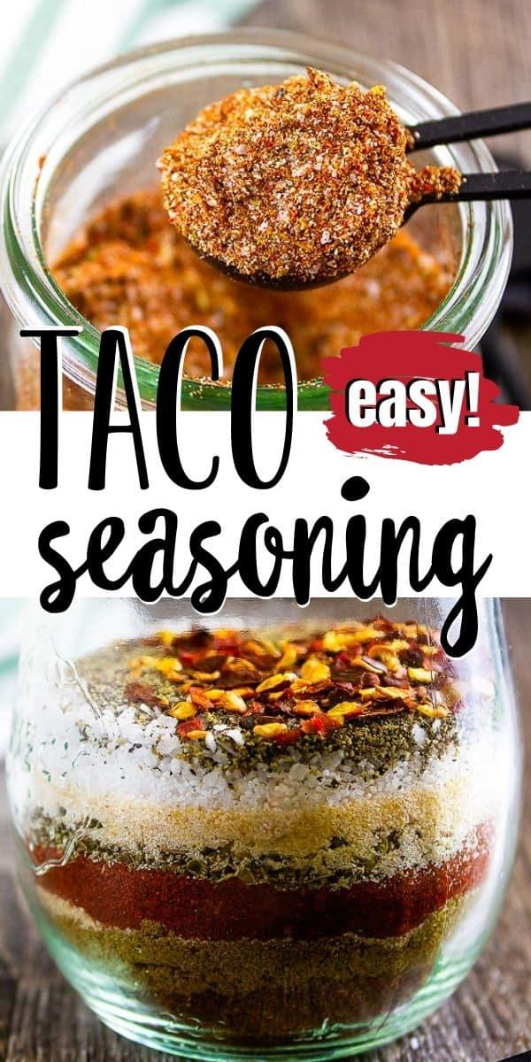 "pinterest image of taco seasoning with text ""easy taco seasoning"""