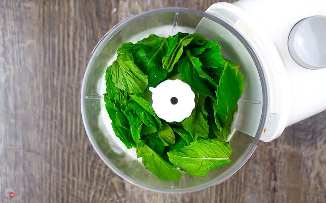 mint leaves in a food processor