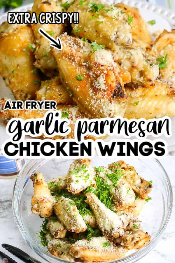 "Pinterest image of chicken wings with text ""garlic parmesan chicken wings air fryer"""
