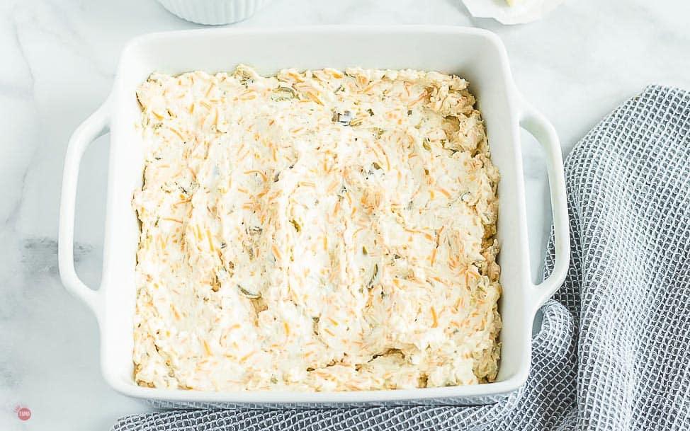 white baking dish with jalapeno dip
