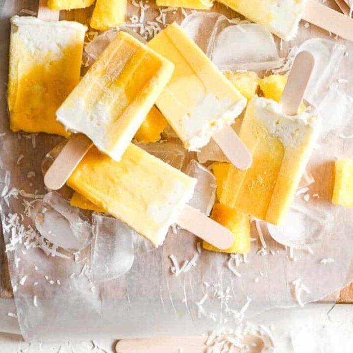 pina colada popsicle recipe card photo