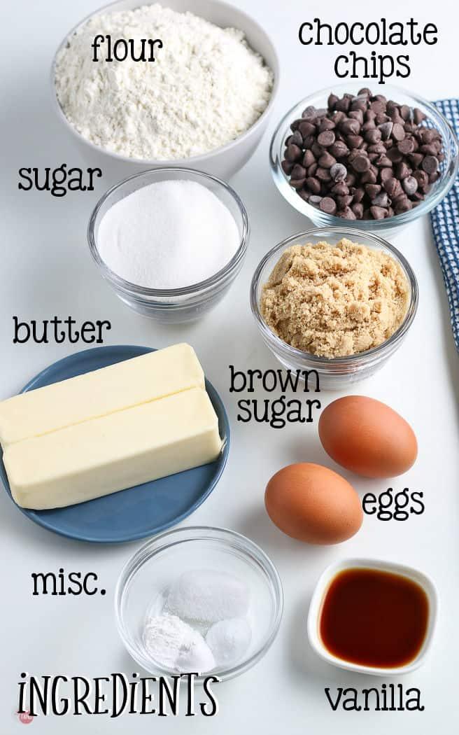 labeled picture of pizookie skillet cookie ingredients