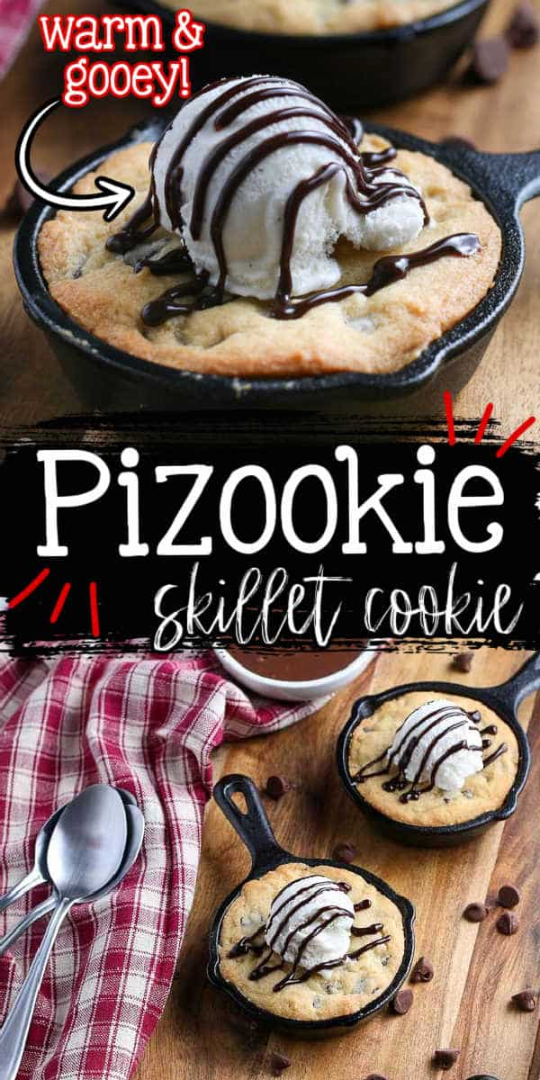 """collage of pizookies for pinterest with text """"pizookie skillet cookie"""""""