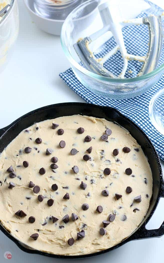cookie dough in a cast iron skillet