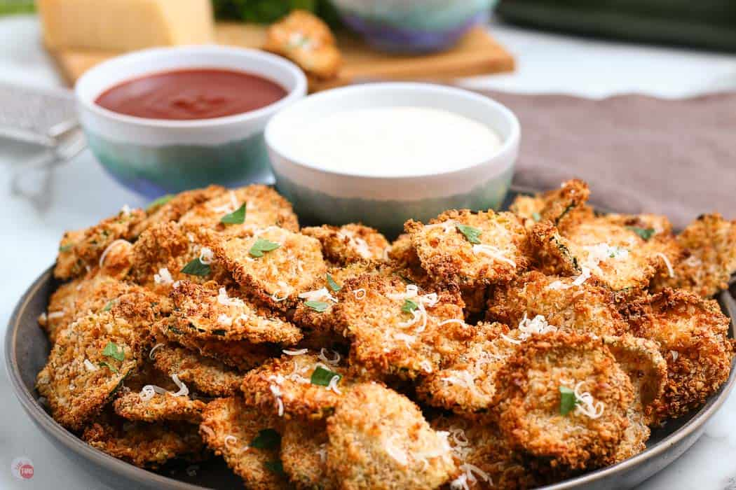 close up of breaded zucchini chips