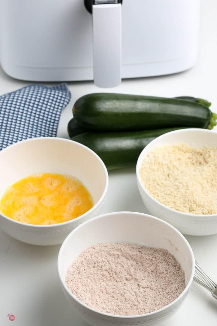 three bowls of breading