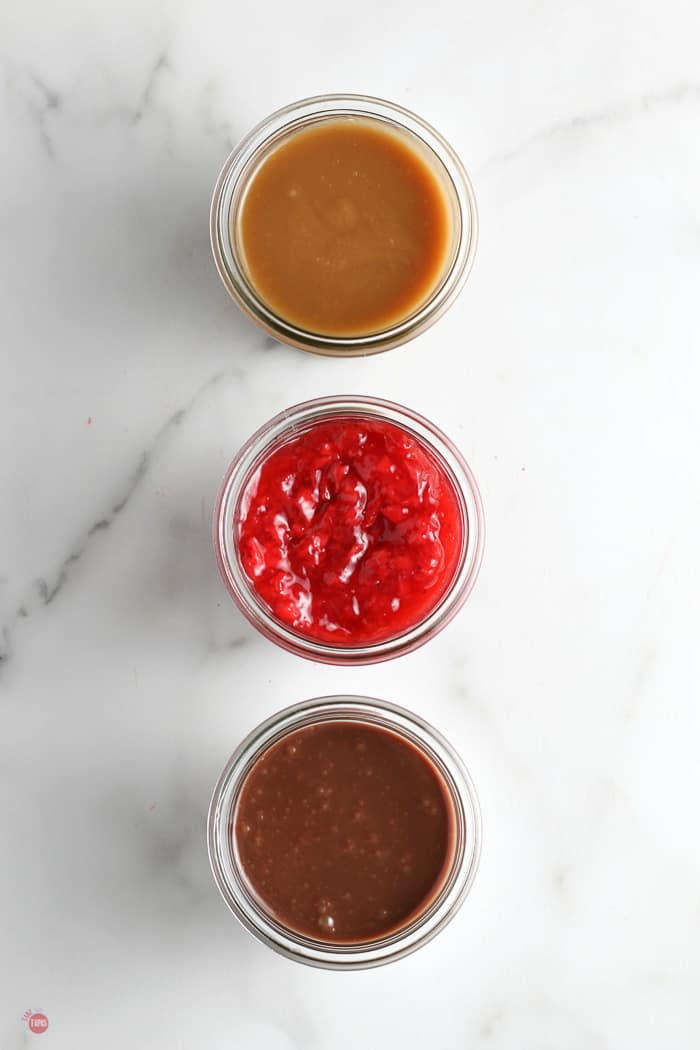 overhead picture of 3 jars of sauces