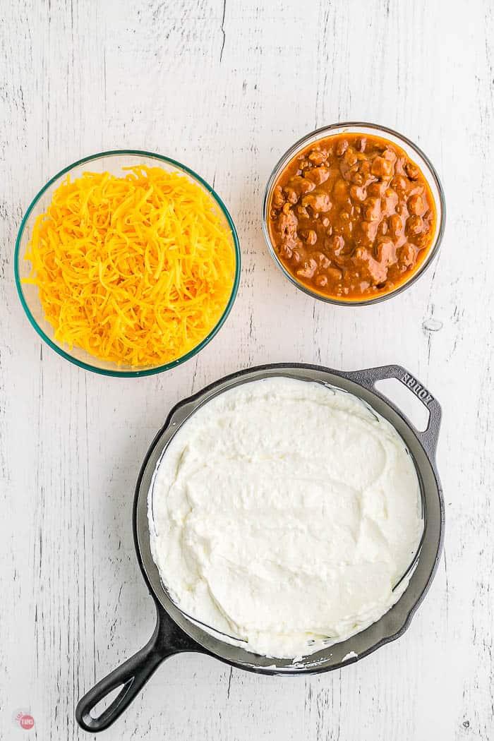cream cheese spread into a skillet