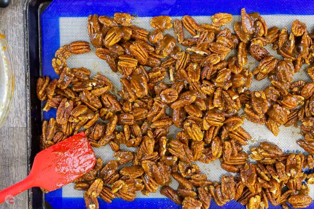 pecans on a baking sheet