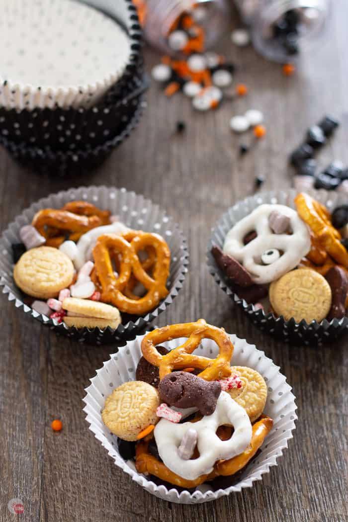 cupcake liners full of graveyard grub halloween party mix