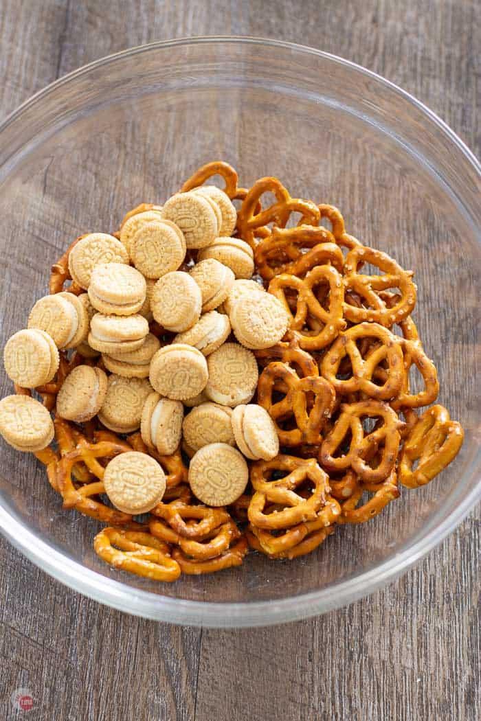 pretzels, mini oreo cookies, in a clear bowl